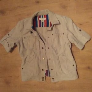 Coldwater Creek Tan Short Sleeve Jacket 6P